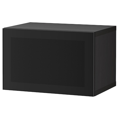 BESTÅ Estante con puerta, negro-café/Mörtviken negro, 60x42x38 cm