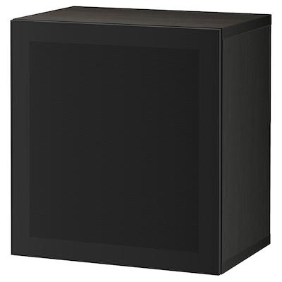 BESTÅ Estante con puerta, negro-café/Mörtviken negro, 60x42x64 cm