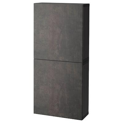 BESTÅ Gabinete de pared con 2 puertas, negro-café Kallviken/gris oscuro efecto cemento, 60x22x128 cm