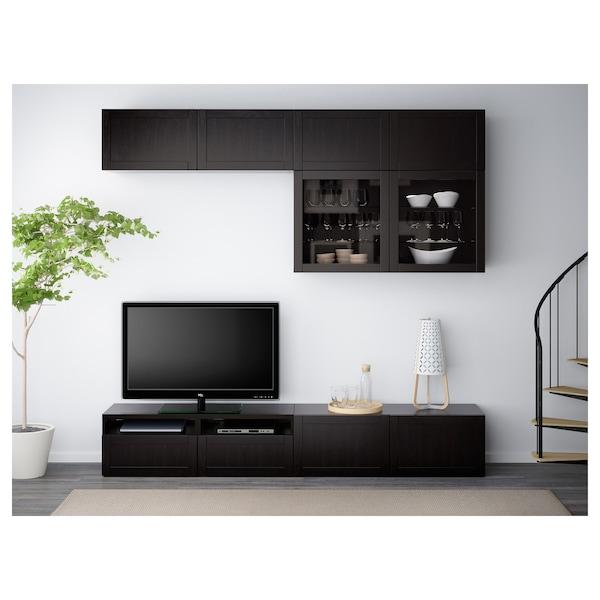 BESTÅ Mueble TV con almacenaje y puertas, Hanviken/Sindvik vidrio transparente negro-café, 240x40x230 cm