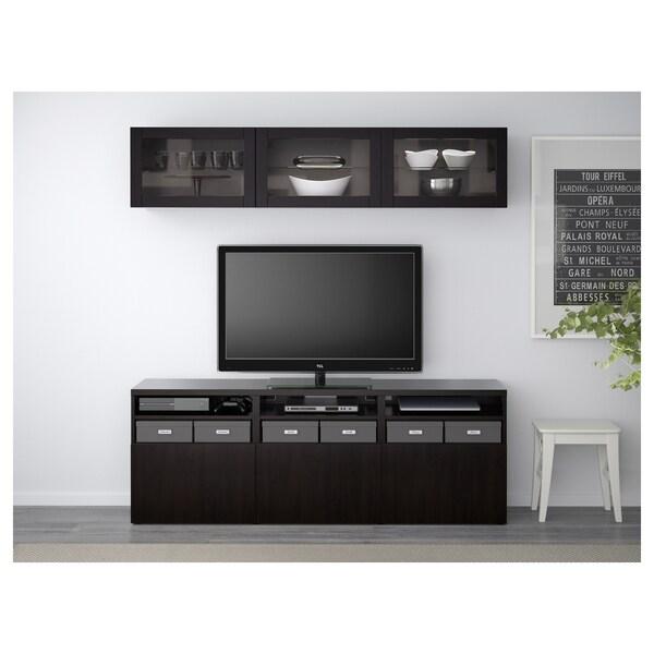 BESTÅ Mueble TV con almacenaje y puertas, Lappviken/Sindvik vidrio transparente negro-café, 180x40x192 cm