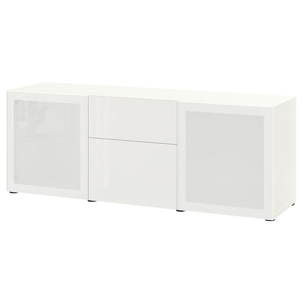 BESTÅ Solución Almacenamiento con cajones, blanco/Selsviken alto brillo/vidrioesmerilbl, 180x42x65 cm