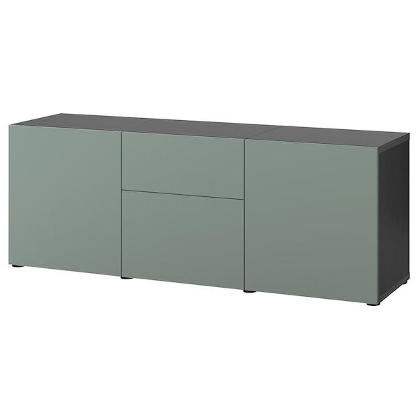 BESTÅ Solución Almacenamiento con cajones, negro-café/Notviken verde grisáceo, 180x42x65 cm