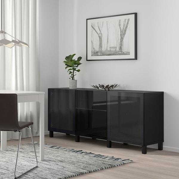 BESTÅ Solución Almacenamiento con cajones, negro-café/Selsviken/Stubbarp alto brillo/vidrioahumadonegro, 180x42x74 cm