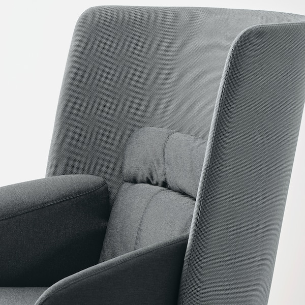 BINGSTA Sillón con respaldo alto, Vissle gris oscuro/Kabusa gris oscuro