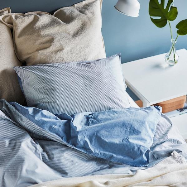 BLÅVINDA Funda nórdica con funda de almohada, azul claro, Matrimonial/queen