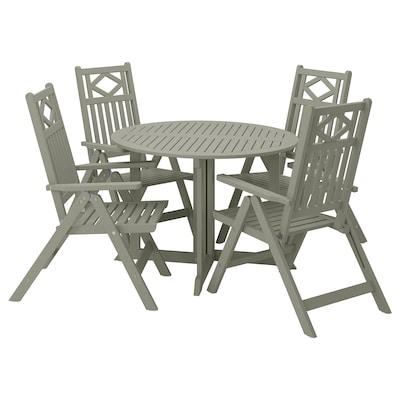 BONDHOLMEN Mesa y 4 sillas reclinables, ext, tinte gris