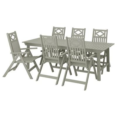 BONDHOLMEN Mesa y 6 sillas reclinables, ext