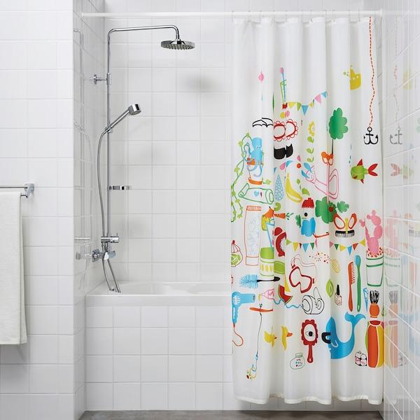 BOTAREN Riel para cortina de baño, blanco, 120-200 cm