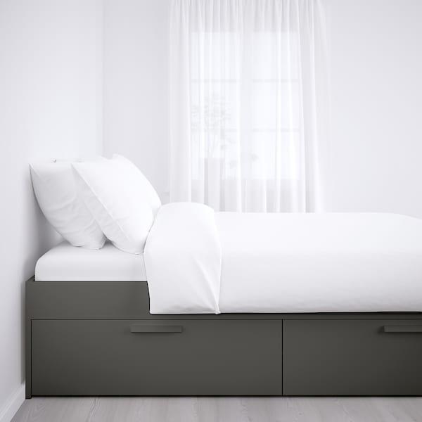 BRIMNES Base de cama almacenamiento, gris/Luröy, Queen