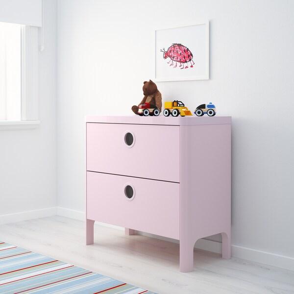 BUSUNGE Buró de 2 cajones, rosa claro, 80x75 cm