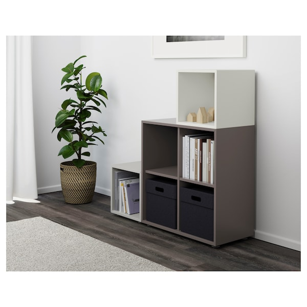 EKET Combinación de gabinete con patas, blanco/gris oscuro/gris claro, 105x35x107 cm