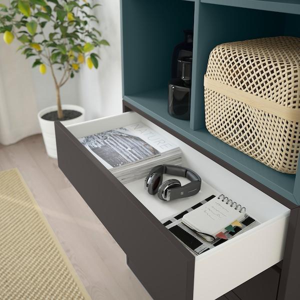 EKET Combinación de gabinete con patas, blanco/gris turquesa gris oscuro, 70x35x212 cm