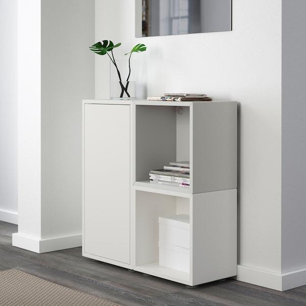 EKET Combinación de gabinete con patas, blanco/gris, 70x25x72 cm