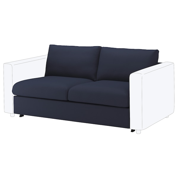 FINNALA Funda para sofá cama de 2 plazas, Orrsta negro-azul