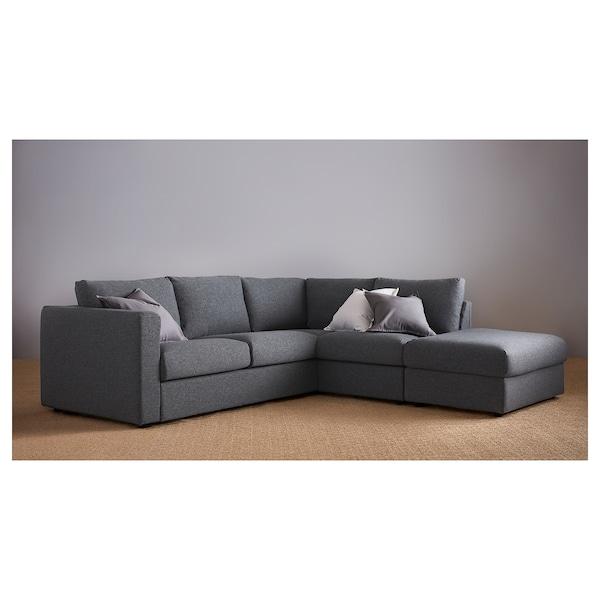 FINNALA Sofá esquina 4 asientos, +extremo abierto/Gunnared gris intermedio