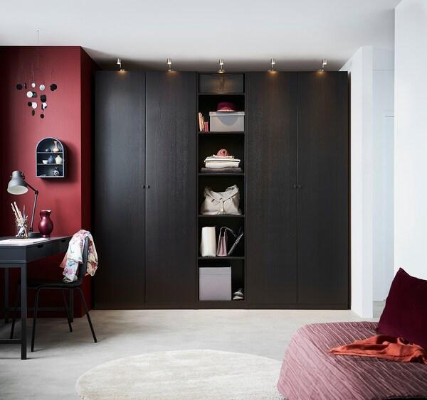 FORSAND Puerta con bisagras, efecto fresno tinte negro-marrón, 50x229 cm