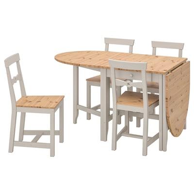 GAMLEBY Mesa y 4 sillas, tinte envejecido claro/gris, 67 cm