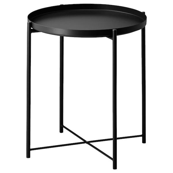 GLADOM Mesa con bandeja, negro, 45x53 cm