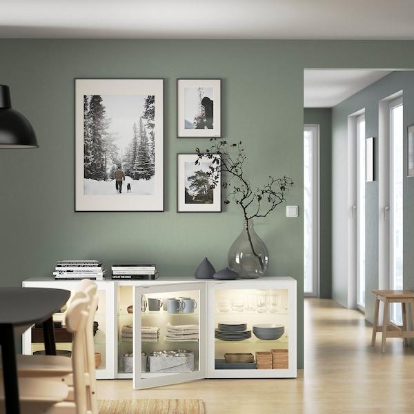 GLASSVIK Puerta de vidrio, blanco/vidrio incoloro, 60x64 cm