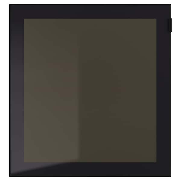 GLASSVIK Puerta de vidrio, negro/vidrio ahumado, 60x64 cm
