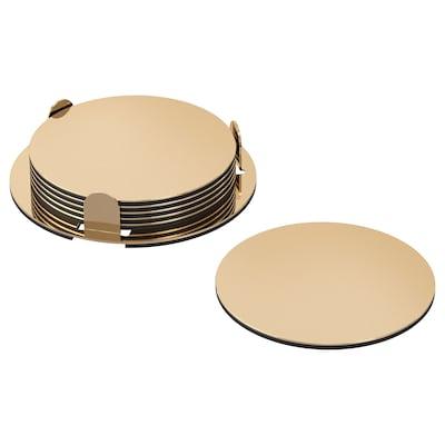 GLATTIS Portavasos con soporte, dorado, 8.5 cm