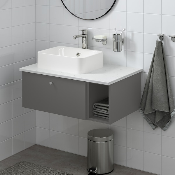 GODMORGON Gabinete abierto, Gillburen gris oscuro, 20x45x29 cm