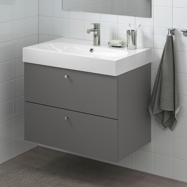 GODMORGON Mueble de lavabo con 2 cajones, Gillburen gris oscuro, 80x47x58 cm