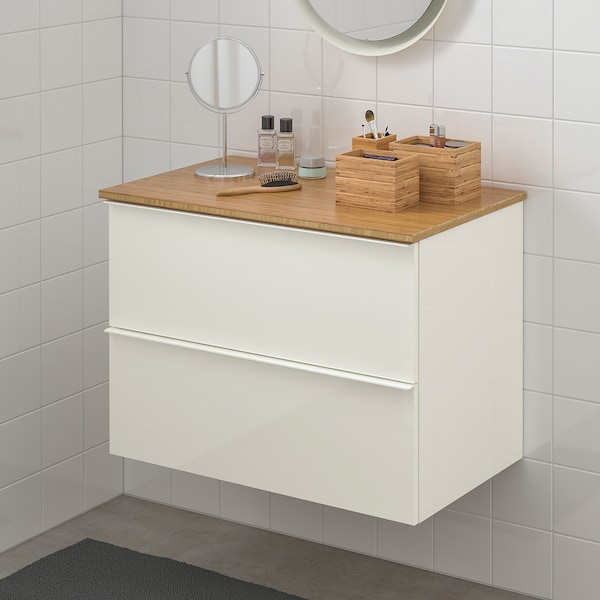 GODMORGON / TOLKEN Mueble de lavabo con 2 cajones, alto brillo blanco/bambú, 82x49x60 cm
