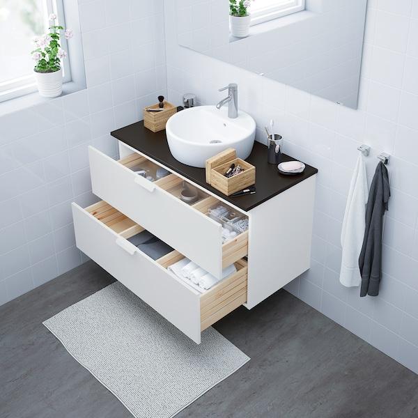 GODMORGON/TOLKEN / TÖRNVIKEN Mueble baño con cubierta y lavabo, blanco/carbón, 102x49x74 cm