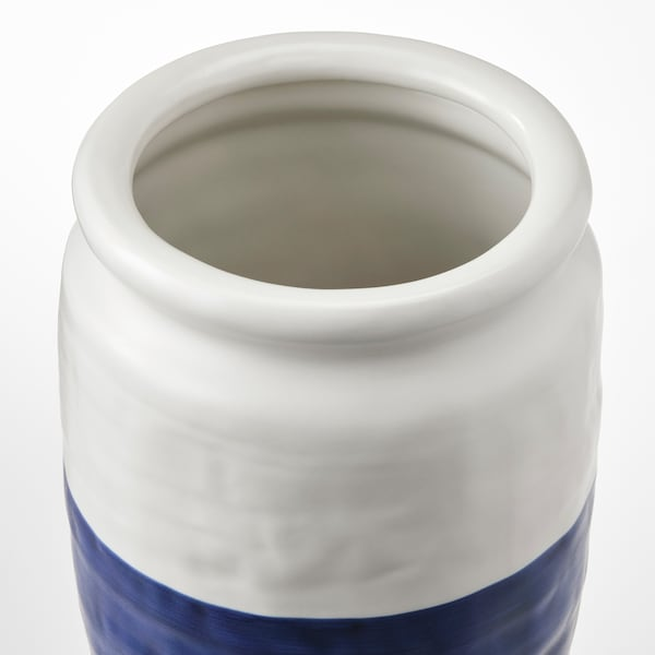 GODTAGBAR Florero, cerámica blanco/azul, 18 cm