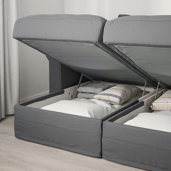 HÄRLANDA Sofá 4 asientos, con chaiselongues/Ljungen gris intermedio