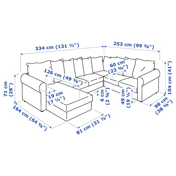HÄRLANDA Sofá esquina 5 asientos, +chaiselongue/Ljungen gris intermedio