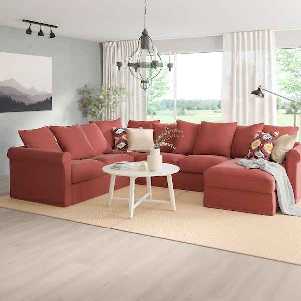 HÄRLANDA Sofá esquina 5 asientos, +chaiselongue/Ljungen rojo claro