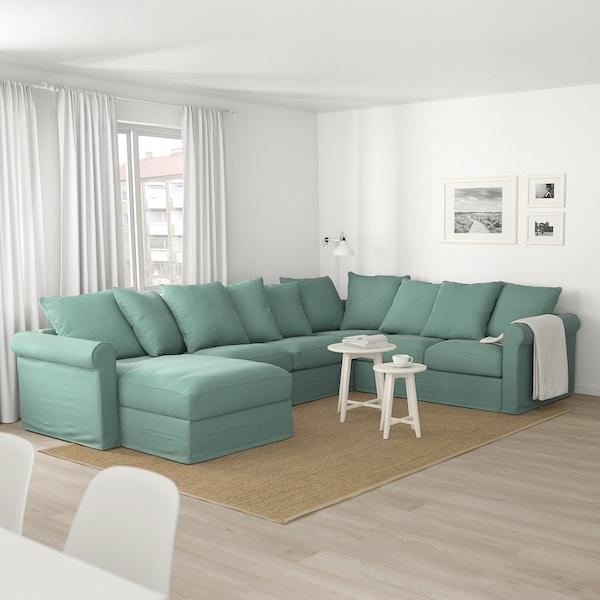 HÄRLANDA Sofá esquina 5 asientos, +chaiselongue/Ljungen verde claro