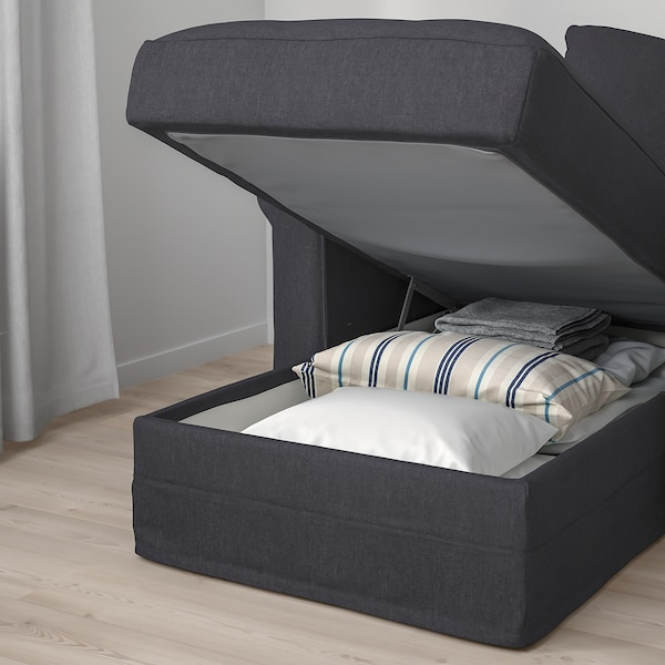 HÄRLANDA Sofá esquina 5 asientos, +chaiselongue/Sporda gris oscuro