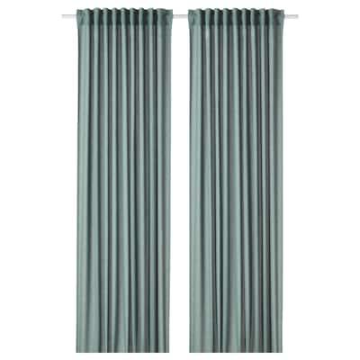 HANNALENA Cortinas oscuras, 1 par, azul-verde, 145x250 cm