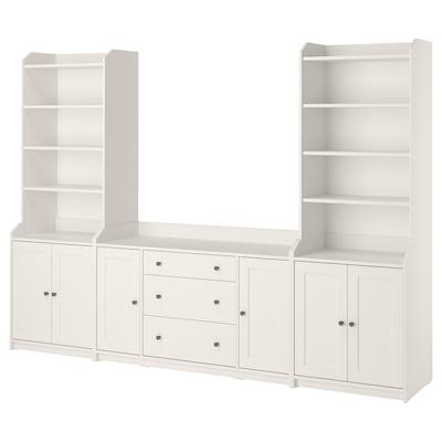 HAUGA Combinación de almacenamiento, blanco, 279x46x199 cm