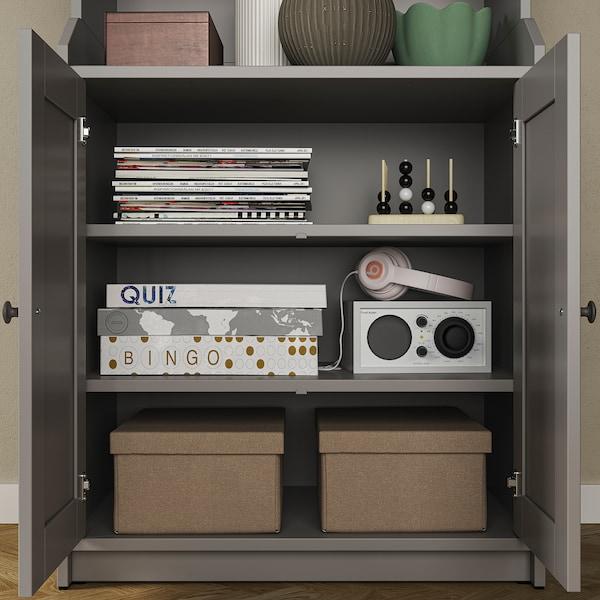 HAUGA Mueble de TV con almacenaje, gris, 277x46x199 cm