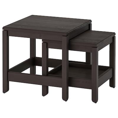 HAVSTA Set de 2 mesas, café oscuro
