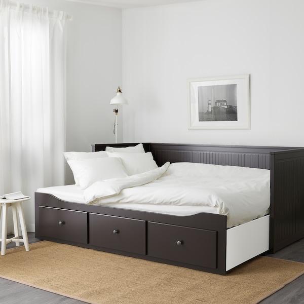 HEMNES Estructura diván-cama y 3 cajones, negro-café, Individual