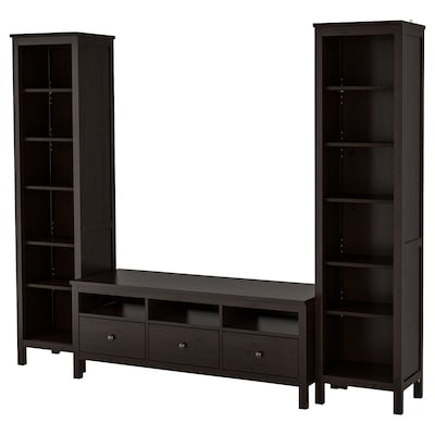HEMNES Mueble de TV con almacenaje, negro-café, 245x197 cm