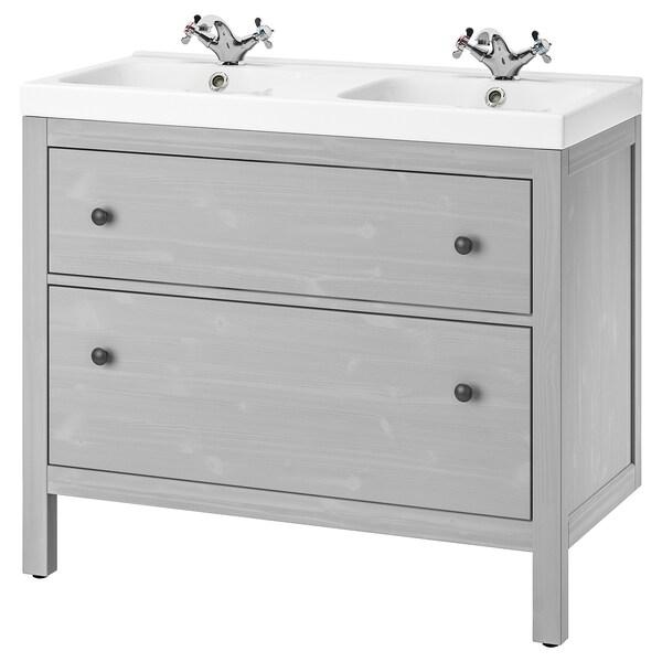 HEMNES / ODENSVIK Mueble de lavabo con 2 cajones, gris/Runskär grifo, 103x49x89 cm