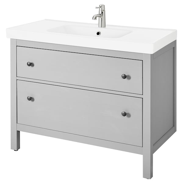 HEMNES / ODENSVIK Mueble de lavabo con 2 cajones, gris, 103x49x89 cm