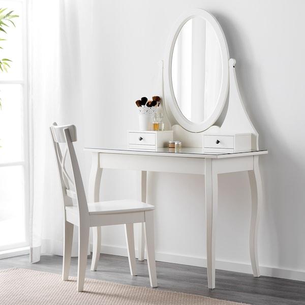 HEMNES Tocador con espejo, blanco, 100x50 cm