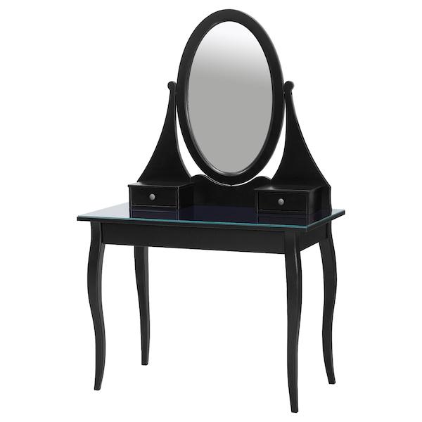 HEMNES Tocador con espejo, negro, 100x50 cm