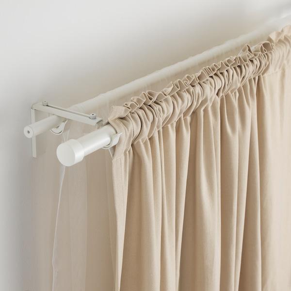 HUGAD Barra de cortina, blanco, 210-385 cm