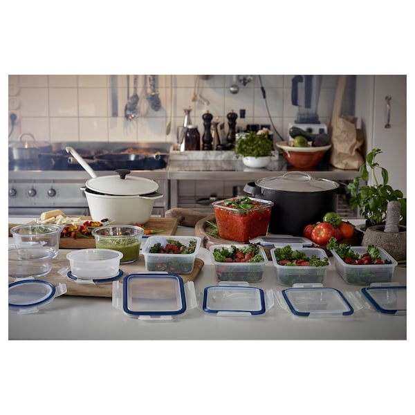 IKEA 365+ Recipiente con tapa, rectangular/plástico, 1.0 l