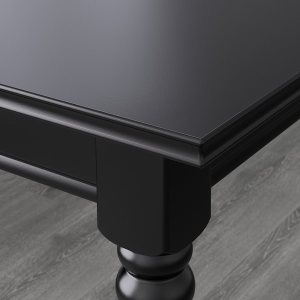 INGATORP / INGOLF Mesa y 6 sillas, negro/Sporda gris oscuro, 155/215x87 cm