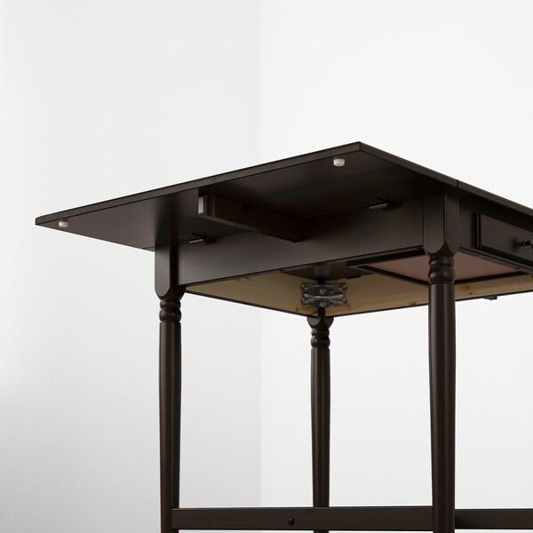 INGATORP Mesa de hojas abatibles, negro-café, 65/123x78 cm